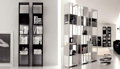 Pareti attrezzate salotto living - Libreria divisoria con porta ...
