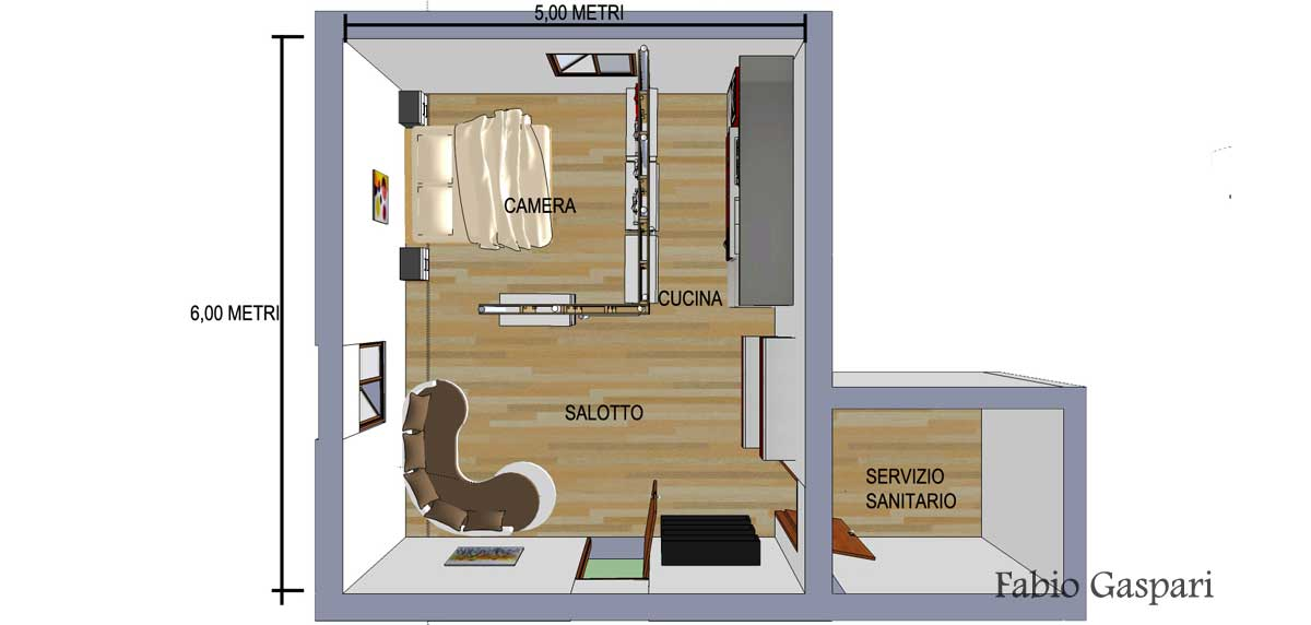 Idea progetto low cost per piccolo monolocale