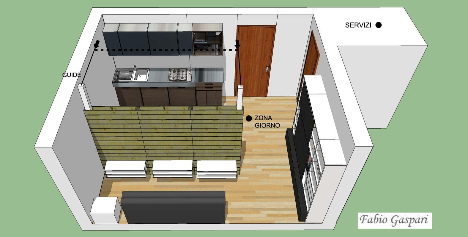 Idea progettuale per monolocale 24mq for Tavoli design low cost