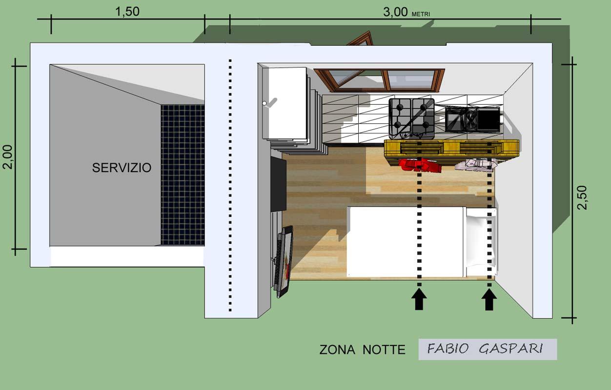 Progetto per monolocale 7mq for 2 metri quadrati di garage