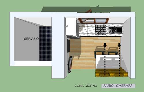 Progetto per monolocale 7mq for Progettare camera da letto 3d