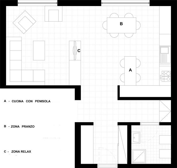 Progetto zona giorno open space for Progetto zona giorno
